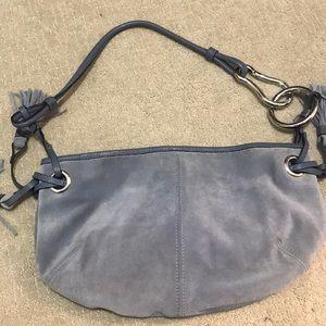 Blue suede shoulder bag